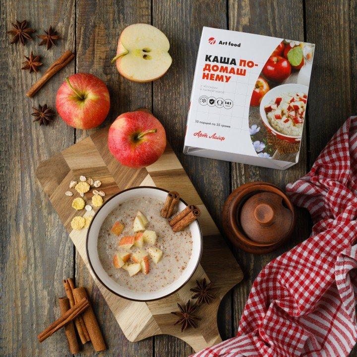 Каша по-домашнему с яблоками и льняной мукой Фото № 1